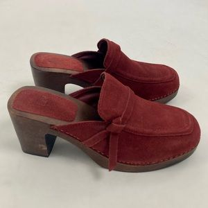 Vintage Y2K Red Leather Chunky Heeled Wood Clogs